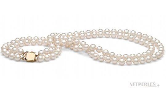 Collier double rang de perles de culture d'Akoya