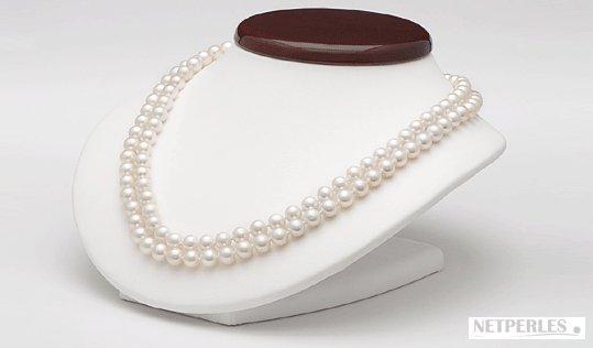 Collier double rang de perles d'Akoya en situation