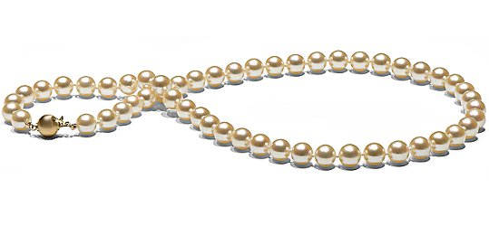 Collier 45 cm perles d'Akoya Champagne