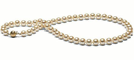 Collier de perles d'Akoya couelur Champagne