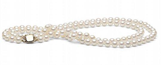 Collier Double Rang de perles de culture d'Akoya 7-7,5 mm
