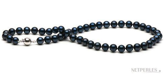 Collier 45 cm de perles d'Akoya noires 7-7,5 mm