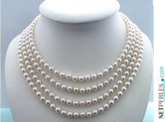 Collier 4 rangs de perles d'Akoya blanches