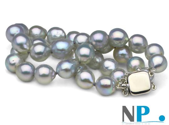 Bracelet  double rang de perles baroques AKOYA bleu 8-8,5 mm, fermoir en Or Gris