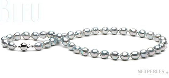 Collier de perles baroques d'Akoya bleues 9 à 9,5 mm