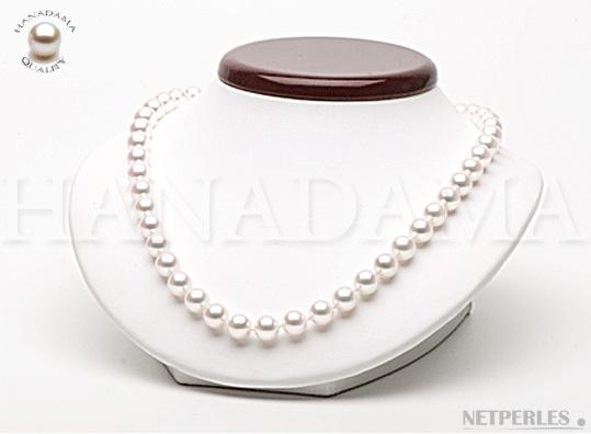 Collier de perles de culture Akoya Hanadama du japon de 8,5 à 9,0 mm