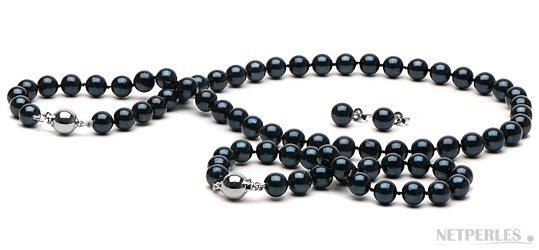 Parure 3 bijoux de perles d'Akoya noires