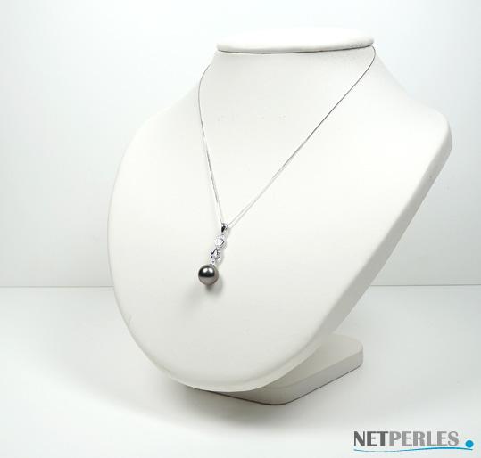 Pendentif perle de culture de tahiti en or gris et diamant avec perle noire à partir de 8,0 mm