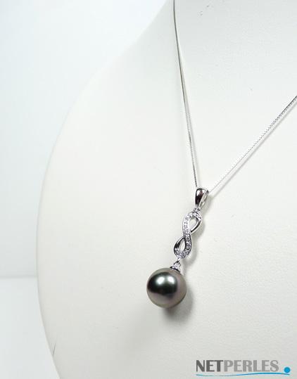 Pendentif or gris et diamant avec perle de culture de Tahiti à partir de 8 mm en qualité AA+ et AAA