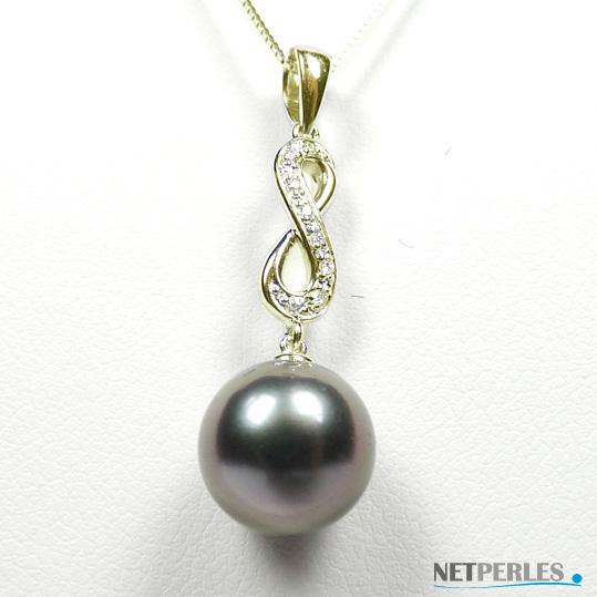 Pendentif en Or gris ou Jaune et diamants avec perle de culture de Tahiti qualité AA+ ou AAA