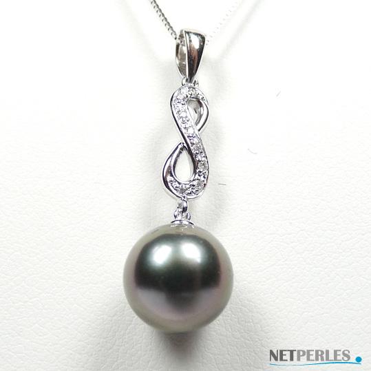 Pendentif en Or gris et diamants avec perle de culture de Tahiti à partir de 8 mm
