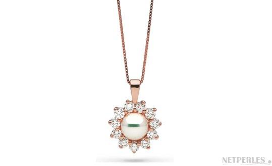 Pendentif en Or Rose avec une perle d'Akoya du Japon Blanche AAA