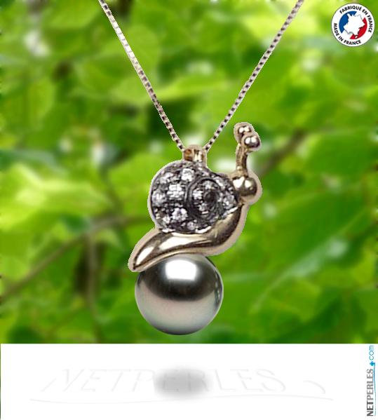 Pendentif en forme d'escargot en Or 18 carats avec Perle noire de tahiti
