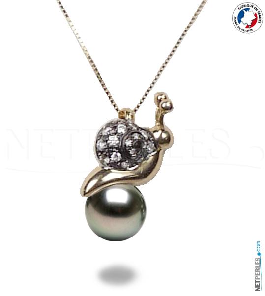 Bijoux : Pendentif en Or et diamant avec perle noire de tahiti