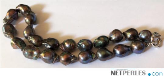 Collier de perles FIREBALL d'Eau Douce Noires ! Des vraies perles rares!!