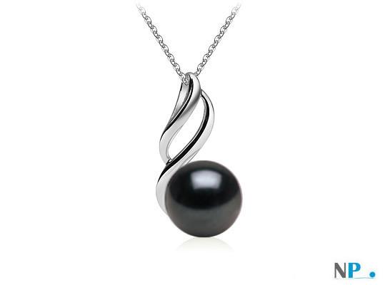 Pendentif Argent 925 Perle d'Eau Douce noire