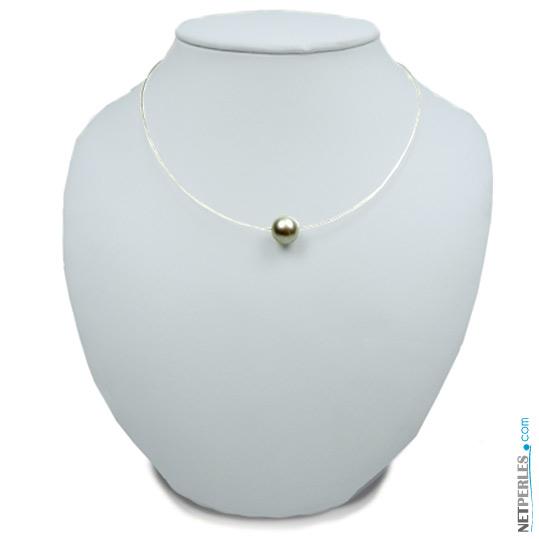 Le Fil d'Ariane Tahiti - Pendentif cable très fin avec perle de Tahiti