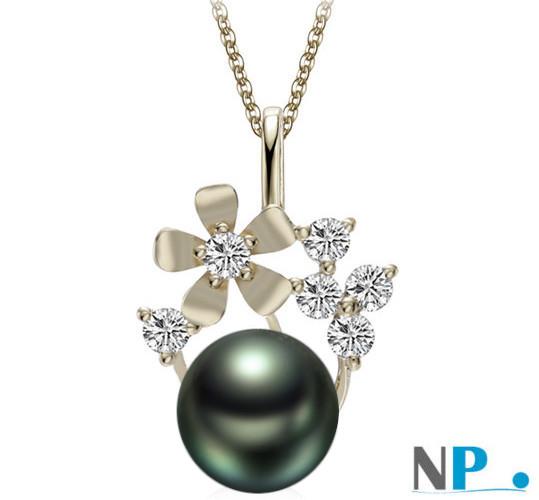 Pendentif Or gris avec diamants et  une perle de culture de Tahiti