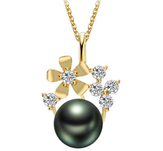 Pendentif Or jaune avec diamants et  une perle de culture de Tahiti