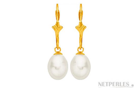 Boucles d'oreilles de perles d'eau douce Goutte sur dormeuses en or 18 carats