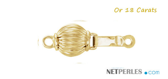 Fermoir en Or Jaune 18 carats pour collier ou bracelet de perles de culture