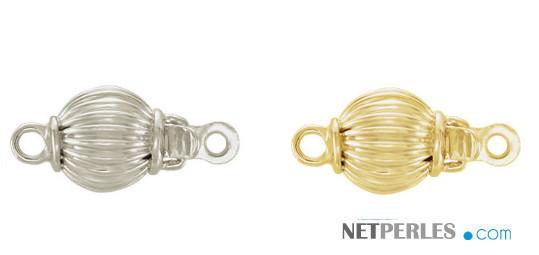 Fermaglio sferico in oro 18k striato, oro bianco e oro giallo