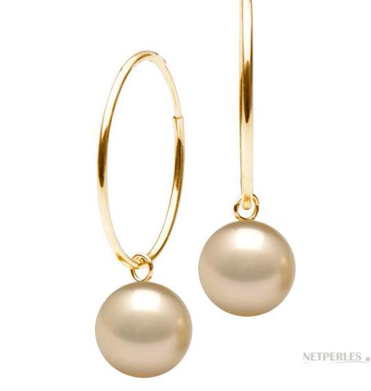 Boucles d'oreilles créoles en Or 18 carats avec perles d'Australie