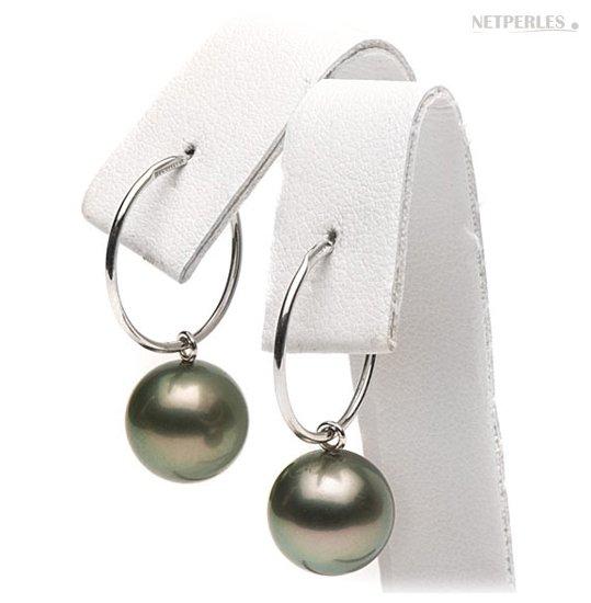 Boucles d'oreilles creoles avec perles de Tahiti