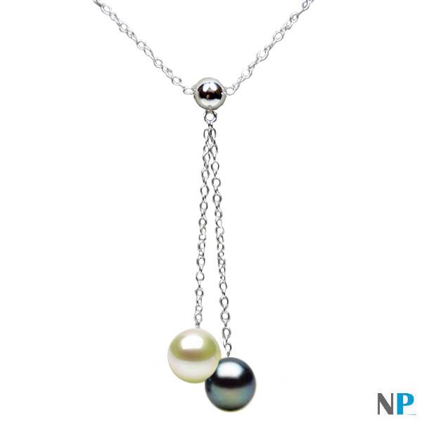 Pendentif Collier en Argent 925 avec perles noire et blanche d'eau douce