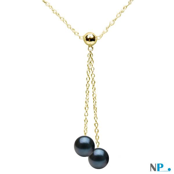 Pendentif collier en or jaune  avec perles noires Akoya