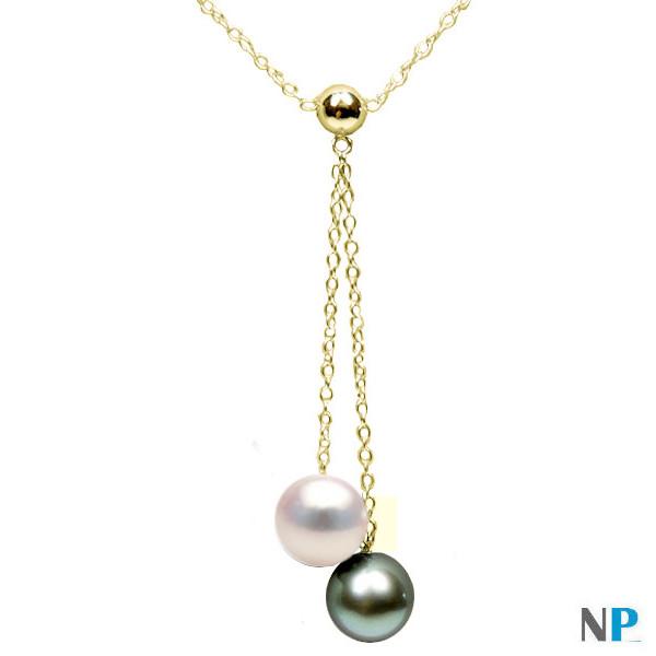 Pendentif collier en Or Jaune avec perle blanche Akoya et pelre noire de Tahiti