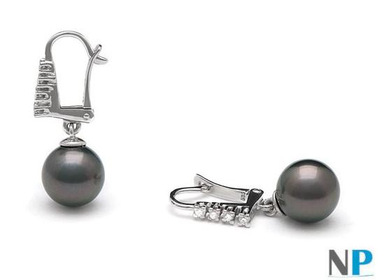 Boucles d'oreilles de perles de Tahiti et diamants sur or 18k