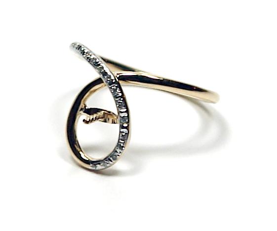 Bague or jaune 18 carats et diamants pour perle de culture