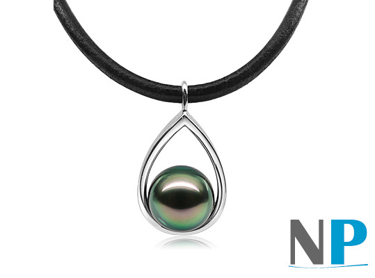 Pendentif Idea en Argent 925  avec perle de culture de Tahiti sur lien de cuir