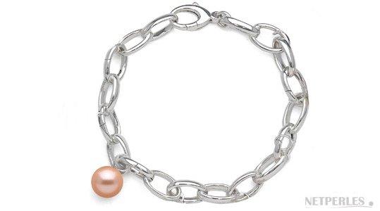 Bracelet sur Chaine en Argent et une perle de culture d'eau douce DOUCEHADAMA Pêche