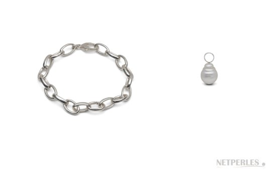 Bracelet en argent avec perles baroques d'australie