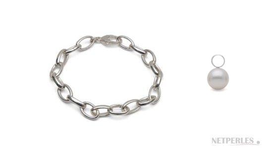 Bracelet en argent rhodié avec perles de culture d'eau douce doucehadama