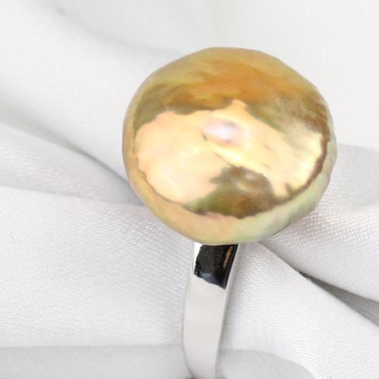 Bague en argent rhodié et perle KESHI d'eau douce de 14,6 mm