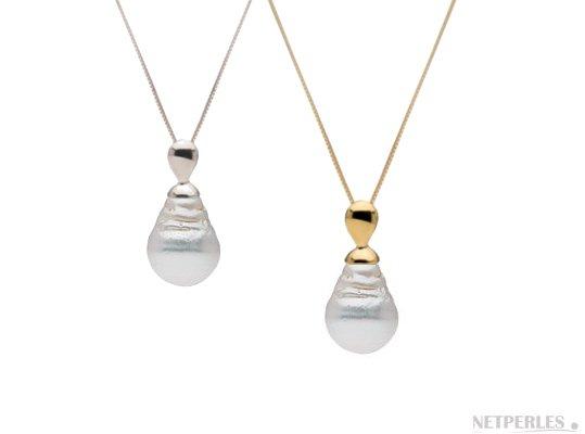 Pendentif en Or jaune ou or gris avec perle d'Australie baroque