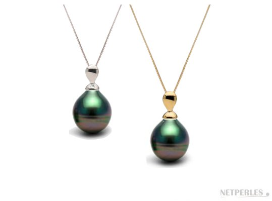 Pendentif Lacrima en Or 14 carats et perle de culture de Tahiti Baroque