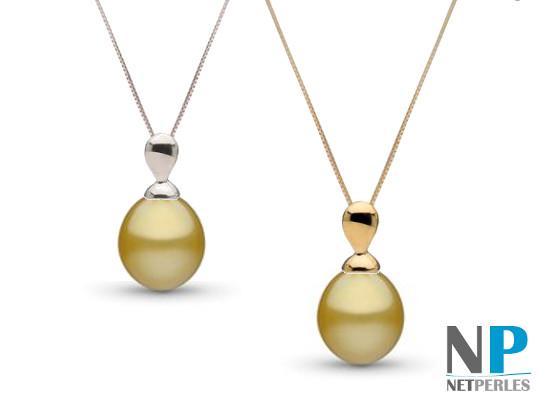 Pendentif Or avec perle Goutte ou ovale dorée d'Australie
