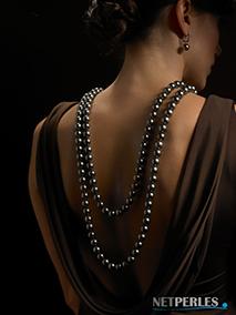 Long collier de perles de Tahiti, perles noire
