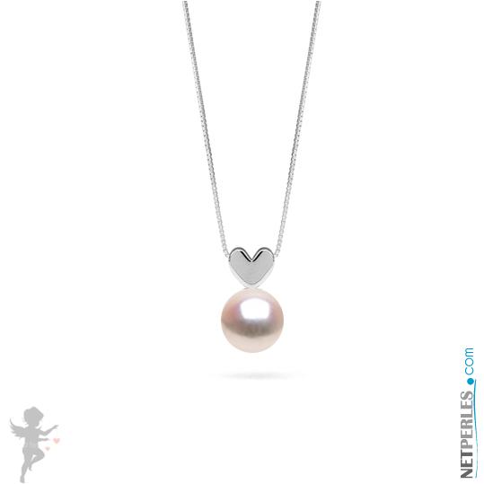 Pendentif coeur en Or gris 14 carats avec sa perle de culture Akoya blanche qualité AAA
