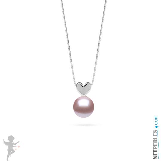Pendentif Argent massif en forme de coeur avec perle de culture d'eau douce qualite AAA lavande