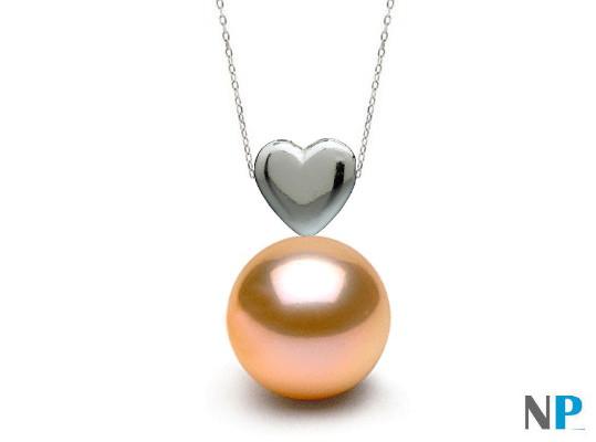 Pendentif forme de coeur en Argent 925 et perle couleur naturelle pêche d'eau douce de qualité AAA de 7 à 8 mm à 9 à 10 mm