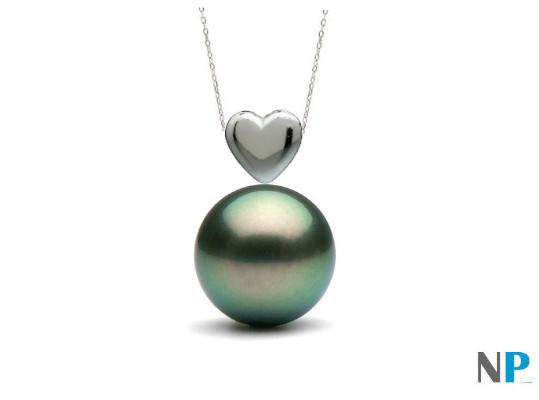 Pendentif coeur en Or gris 14 carats et perle noire de Tahiti qualité AAA