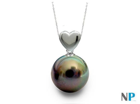 Pendentif coeur en Or gris et perle noire de Tahiti qualité AAA