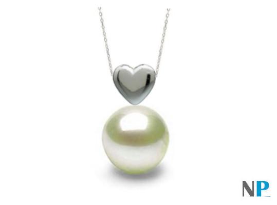 Pendentif forme de coeur en Argent 925 et perle blanche d'eau douce de qualité AAA de 7 à 8 mm à 9 à 10 mm