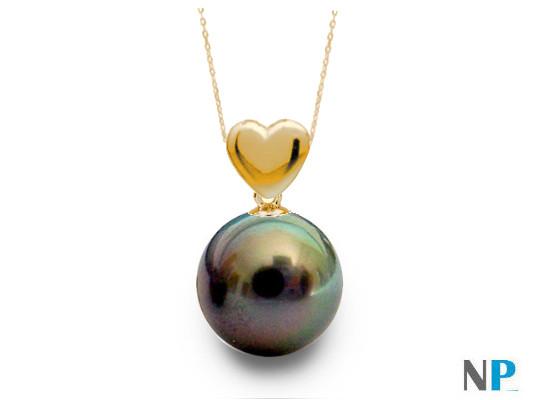Pendentif coeur en Or jaune et perle noire de Tahiti qualité AAA