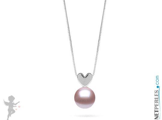 Pendentif coeur en Or gris 14 carats et perle blanche d'eau douce qualité AAA